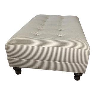 Upholstered Gray Stripe Ottoman