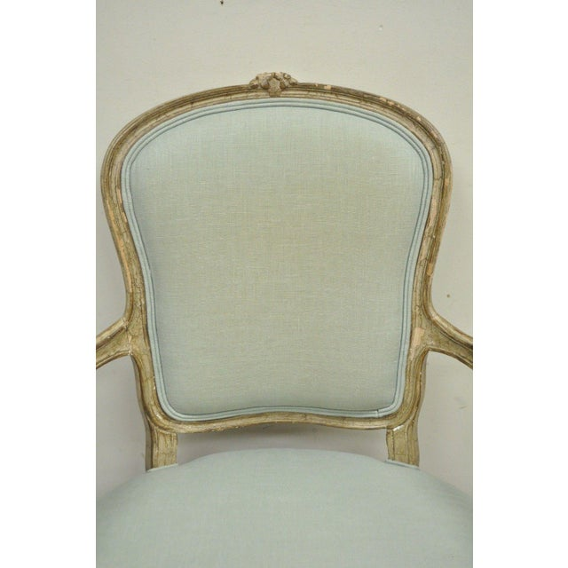 Vintage French Louis XV Style Distress Paint Carved Bergere Chair - Image 4 of 11
