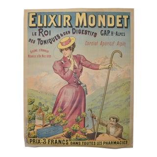 "Antique French Francisco Tamango ""Elixer Mondet"" Advertising Poster"