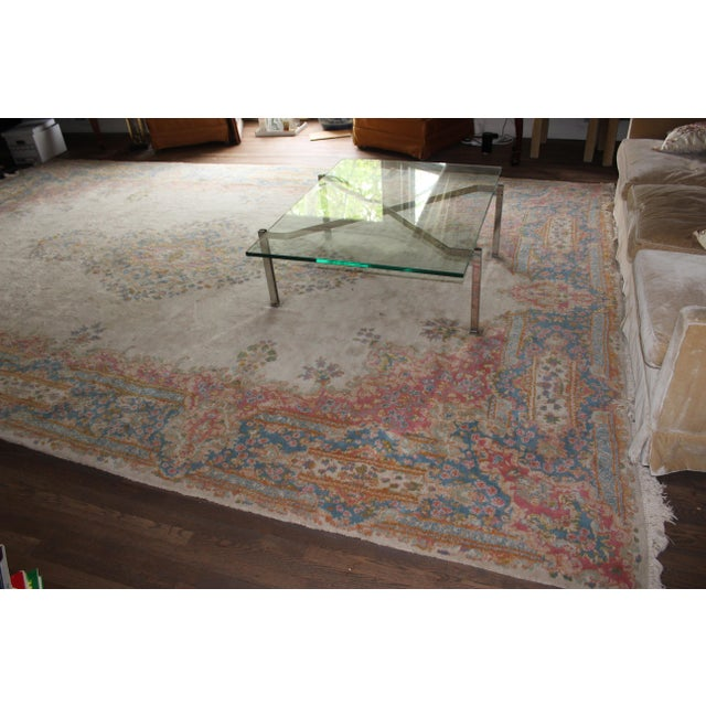 "Image of Traditional Center-Medallion Kerman Persian Wool Rug - 10'5"" X 16'5"""
