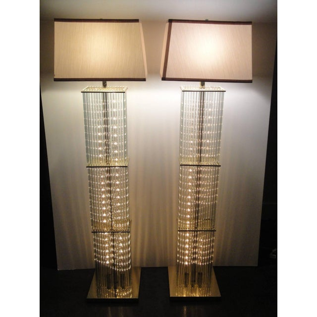 Pair of Sciolari Brass and Glass Floor Lamps for Lightolier - Image 3 of 9