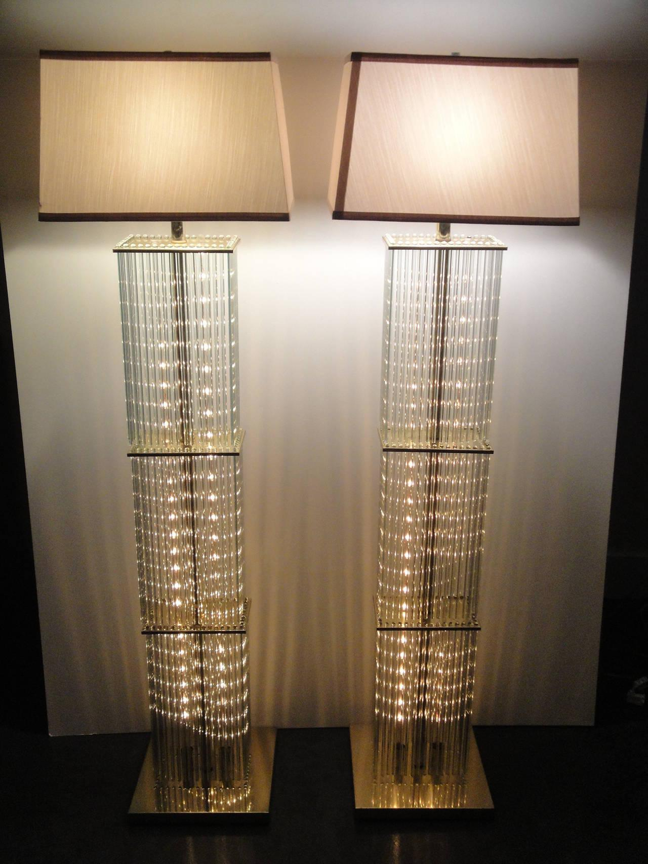 Pair Of Sciolari Brass And Glass Floor Lamps For Lightolier   Image 3 Of 9