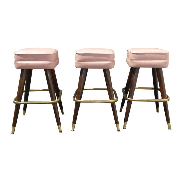 Retro Pink Vinyl Bar Stools - Set of 3 - Image 1 of 11