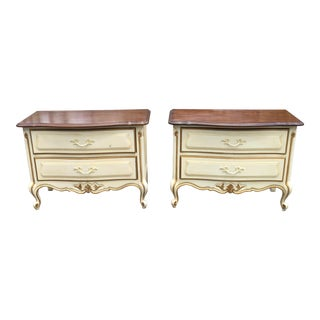 Drexel Touraine White Nightstands - A Pair