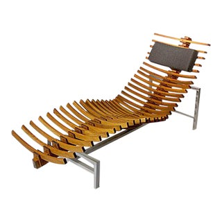 Slatted Teak Wooden Spine Chaise
