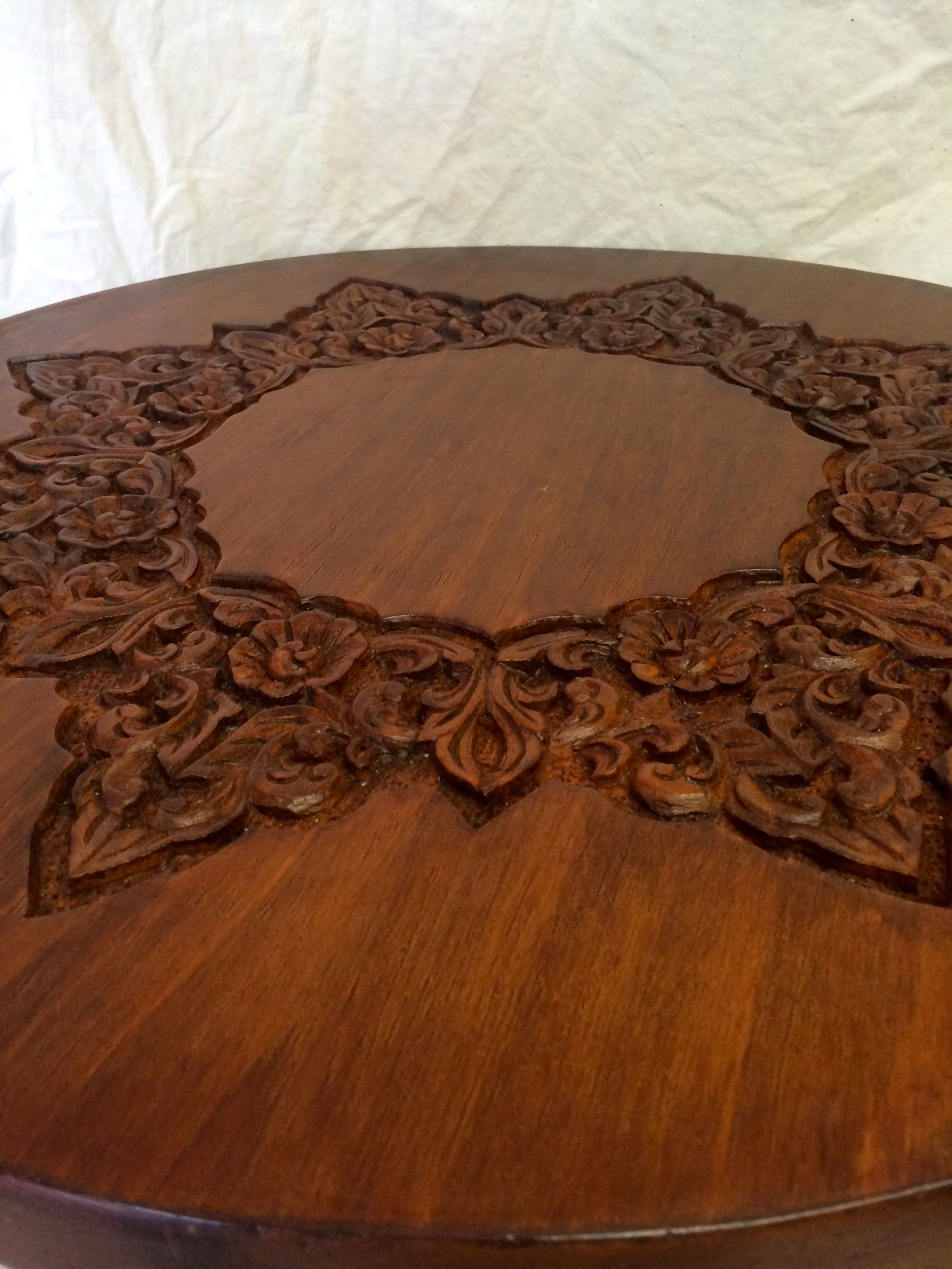 Vintage Hand Carved Wood Elephant Table   Image 4 Of 5