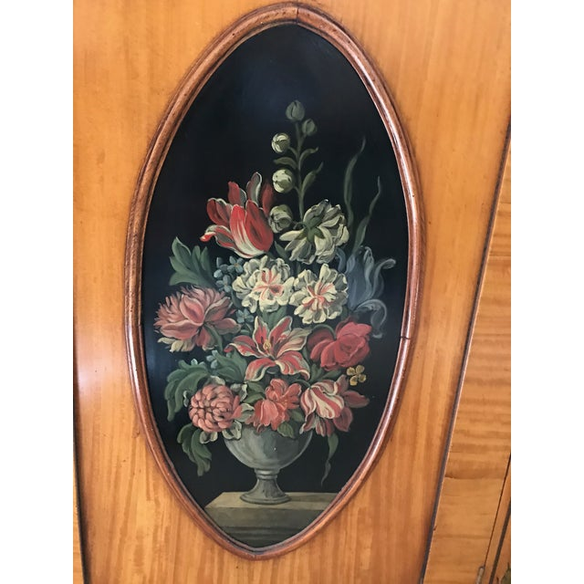 Regency-Style Satinwood Floral Bookcase - Image 6 of 10