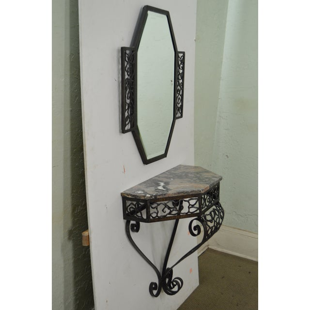 Art Deco Oscar Bach Style Iron Marble Top Wall Console w/ Mirror - Image 3 of 10