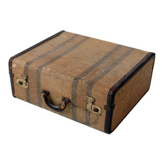 Vintage Striped Brass & Leather Suitcase