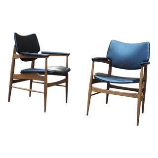 Mid-Century Modern Wood Framed Chairs - A Pair