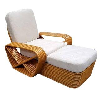 Paul Frankl Style Pretzel Rattan Chaise Lounge