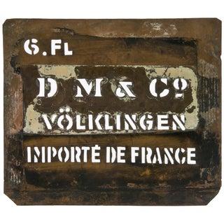 Vintage French Volklingen Ironworks Copper Stenci