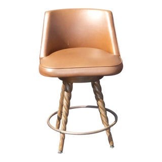 Vintage Spanish Style Brown Vinyl Bar Stool