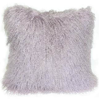 Violet Mongolian Sheepskin Throw Pillow