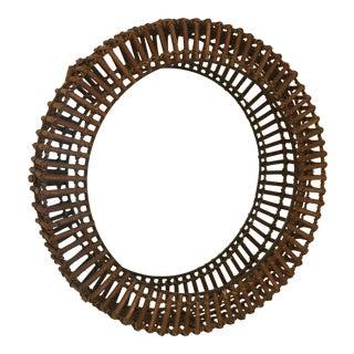 Rattan Albini Style Round Mirror