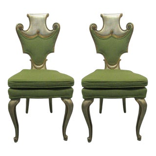 Pair of Decorative Silver Leaf Chairs Attributed to Grosfeld House
