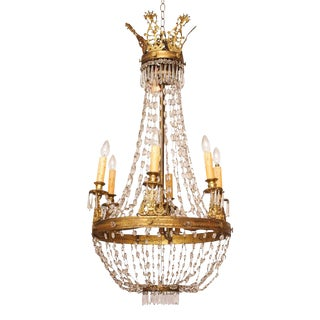 Large Empire Style Chandelier with Tall Acanthus Crown