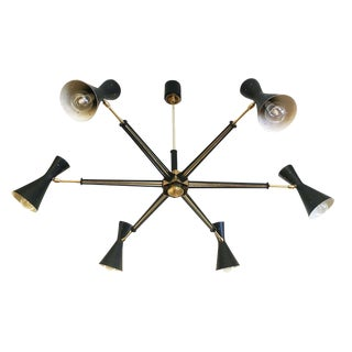 Articulating Black and Brass Chandelier, Italy, 1960s
