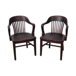 Antique Bank of England Style Arm Chairs - A Pair