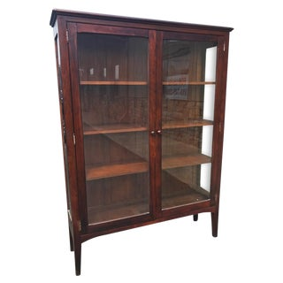 Antique Arts & Crafts Mission Style Bookcase Curio Cabinet