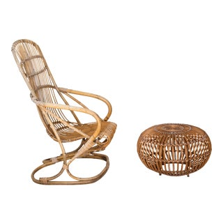 Franco Albini Rattan Lounge Chair & Ottoman