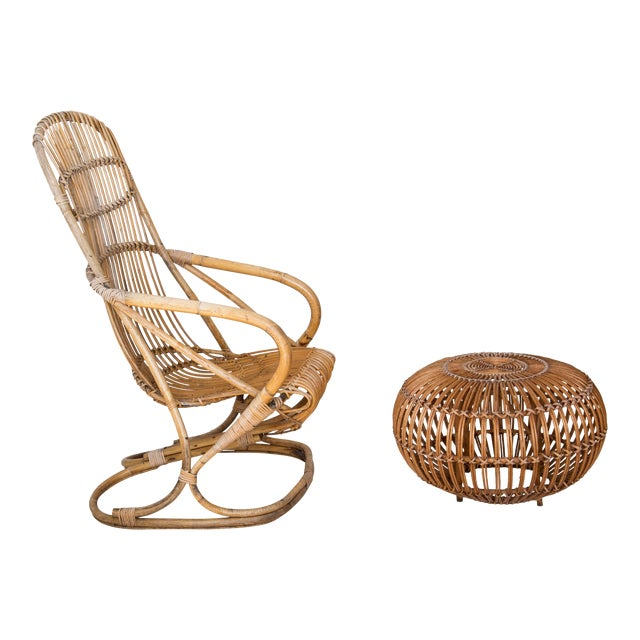 Franco Albini Rattan Lounge Chair & Ottoman - Image 1 of 11