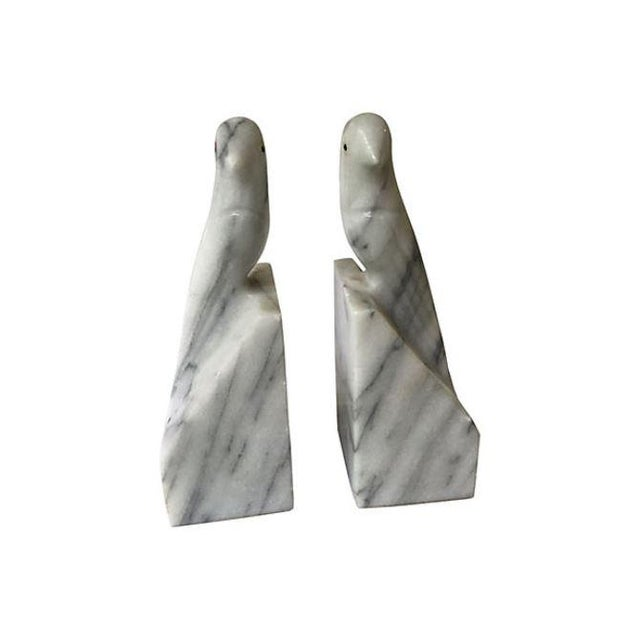 Image of Vintage White Marble Bird Bookends - A Pair