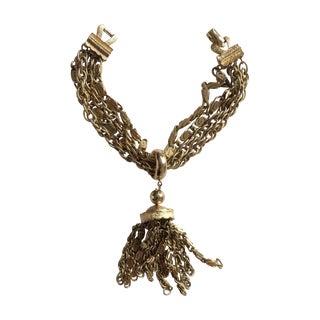 Coro Gold Multi Strand Tassle Bracelet