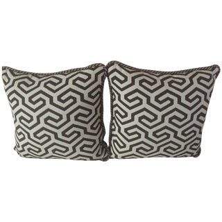 Schumacher Brown & Cream Pillows - A Pair