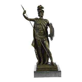 Roman Soldier Bronze Statue on Marble Base