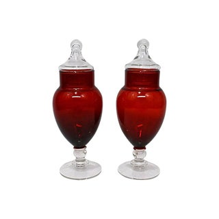 Ruby Red Glass Bonbonnières- A Pair