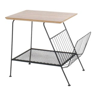Freda Diamond Wire Rod Side Table With Magazine Rack
