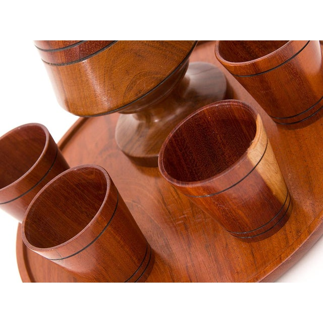 Image of 1970s Vintage Wooden Cocktail Serving Set