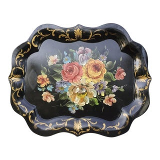 Shabby Chic Large Floral Tole Tray