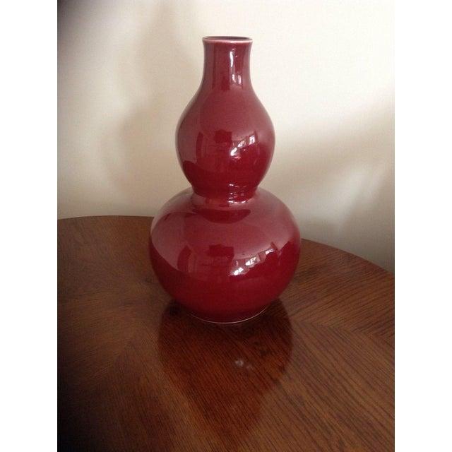 """Image of Oxblood Gourd Ceramic Vase, 14"""""""
