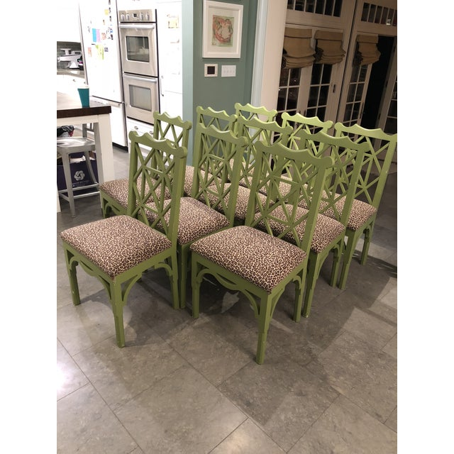 Custom Chinese Chippendale Green Chairs - Set of 10 - Image 2 of 11
