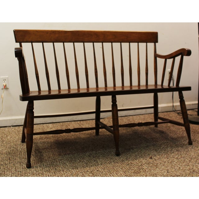 Vintage Nichols Stone Spindle Back Bench Chairish