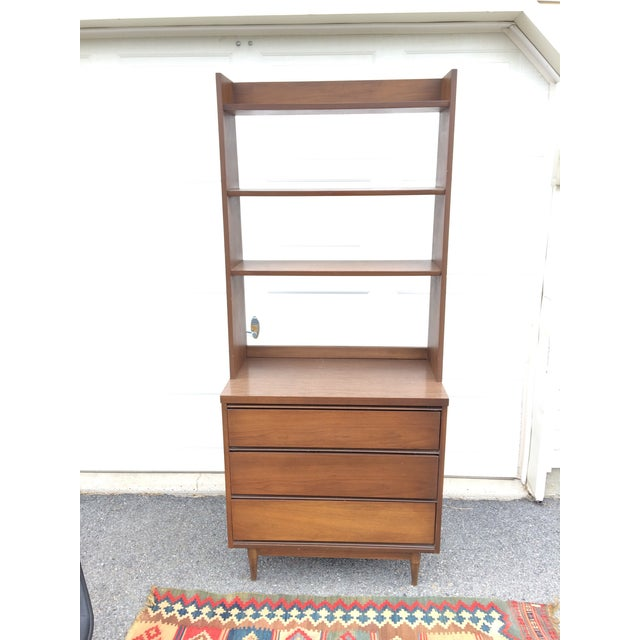 Mid Century Walnut Chest Of Drawers With Bookcase Top