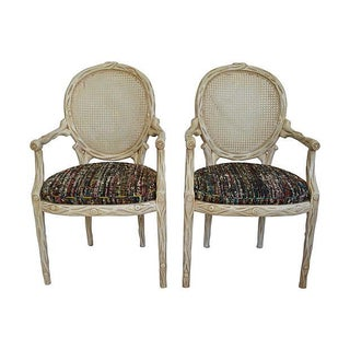 Faux Bois-Style Armchairs - Pair
