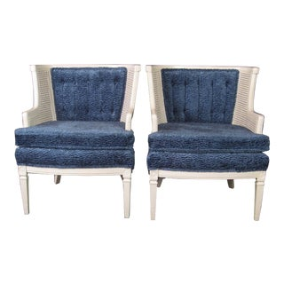 Midcentury White Lacquered Tufted Chairs - A Pair