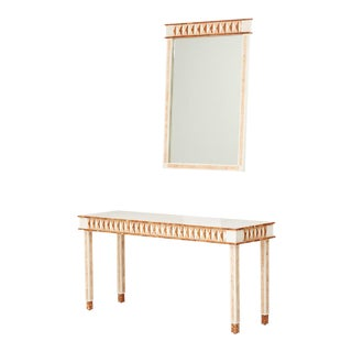 Maitland-Smith Postmodern Tessellated Console & Mirror