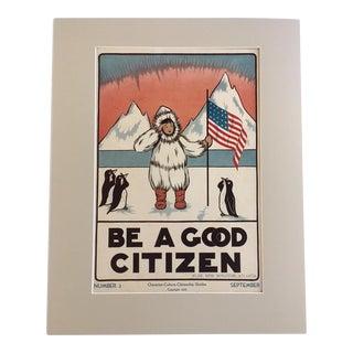 "Vintage 1930's Classroom Poster by Elise Reid Boylston - ""Be a Good Citizen"""