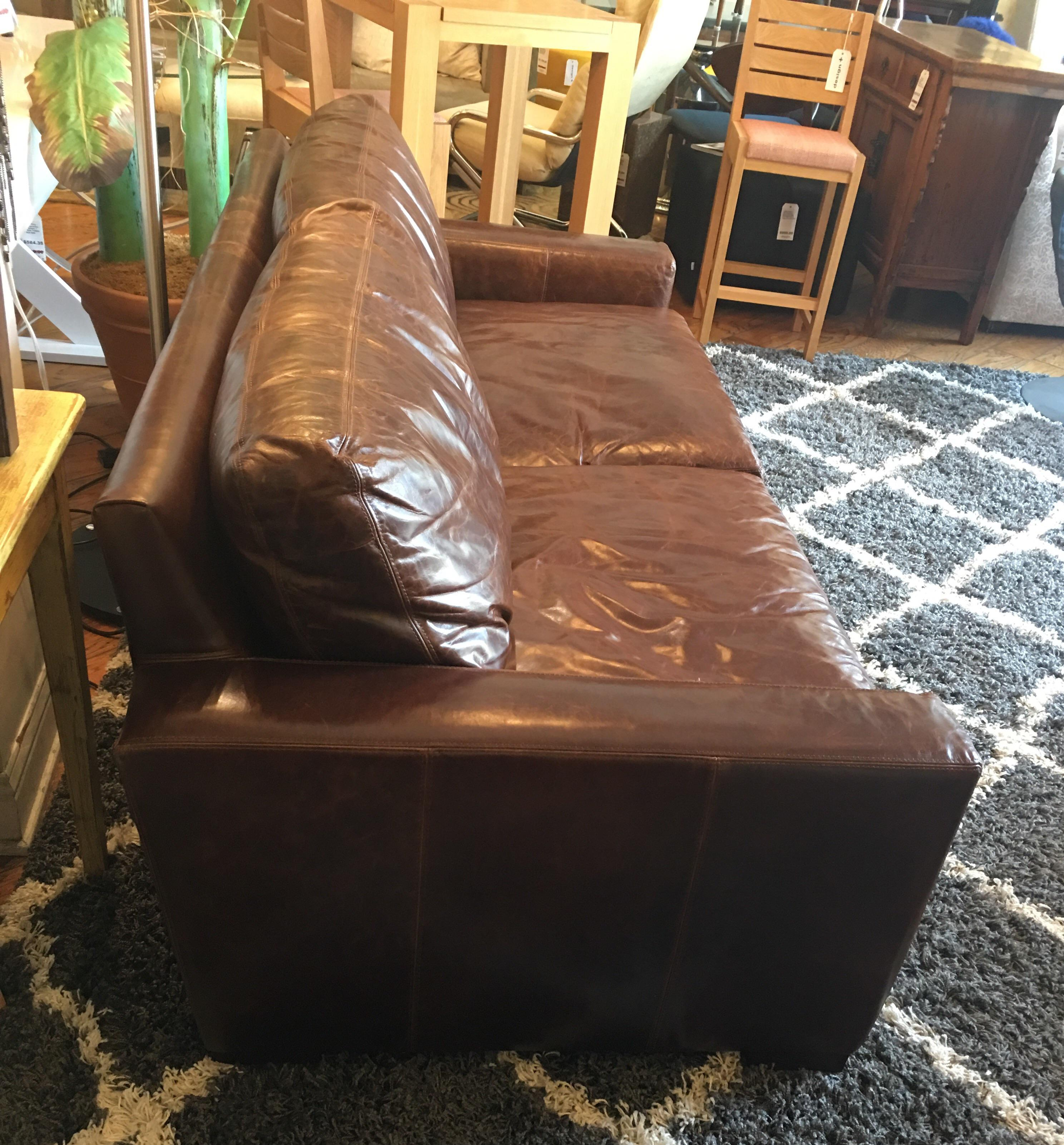 restoration hardware petite maxwell chair. restoration hardware petite maxwell leather sofa - image 3 of 9 chair