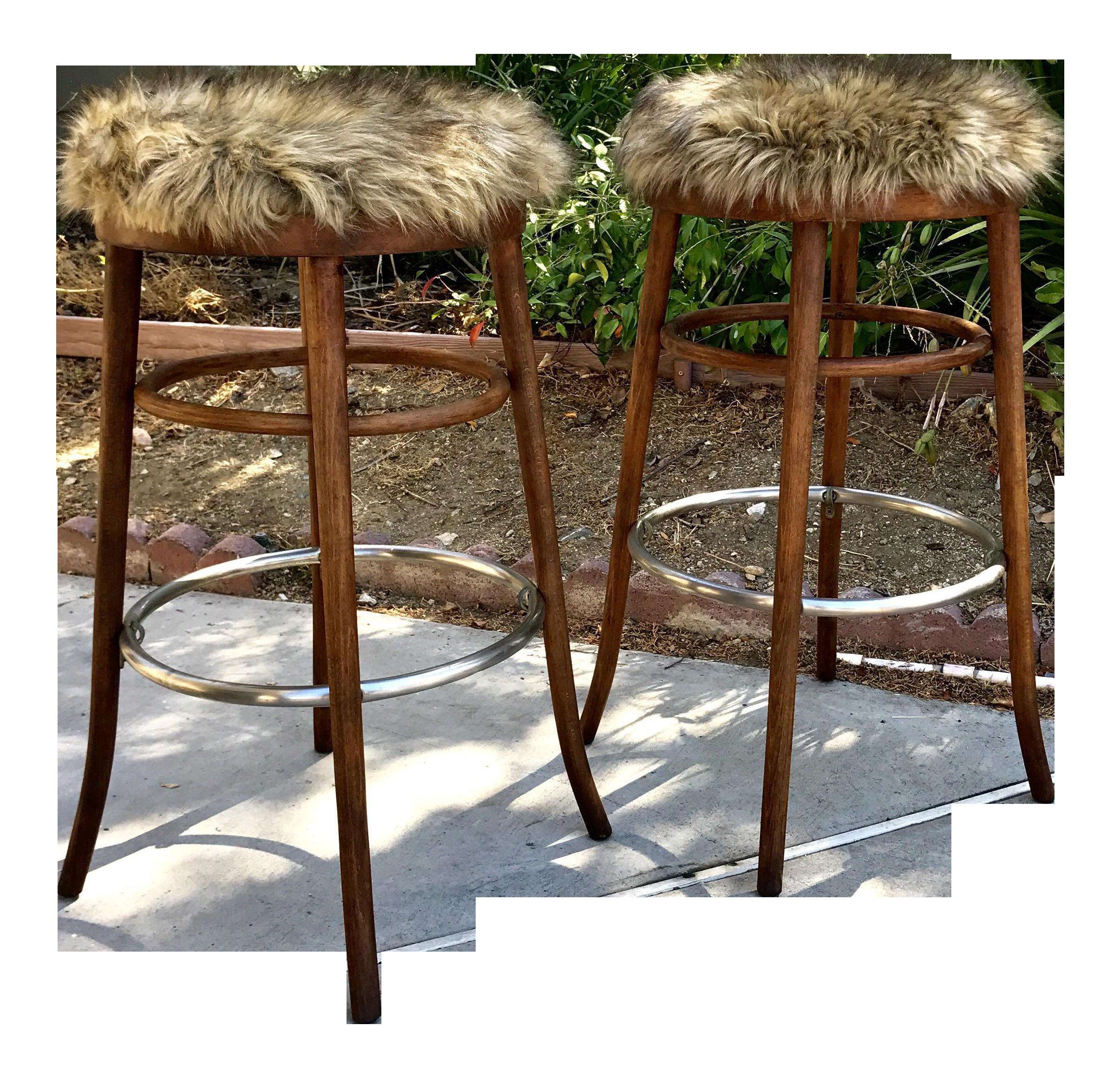mid century modern radomosko bent wood bar stools a pair