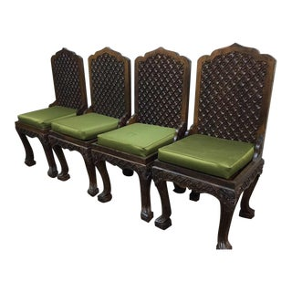 Asian Hand Carved Dining Chairs, Massive Ornate - Set of 4