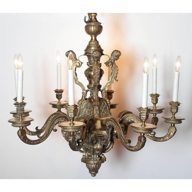 Ornate 19th Century French 8-Light Bronze Chandelier with Cherubs and Faces - Image 5 of 10