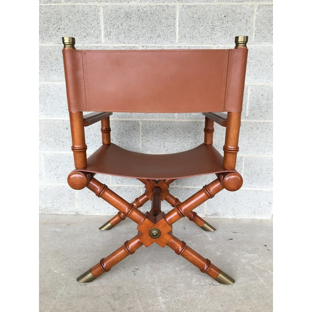 Faux Bamboo Leather Directors Chair W/ Brass Accents - Image 8 of 8