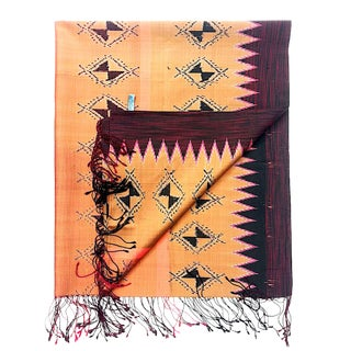 Terracotta & Eggplant Silk Ikat Shawl or Throw