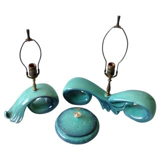 Mid-Century Sea Foam Green & Blue Pottery Lamp Set