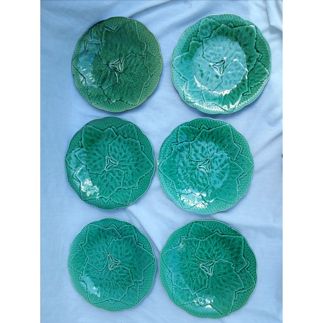Victorian Green Ivy Majolica Plates - Set of 6 - Image 2 of 5